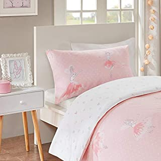 Amelia Reversible Printed Duvet Cover Set Cot Size - Pretty Pink Ballerinas Princess Motifs Design - 2 Pcs Ultra Soft Hypoallergenic 100% Cotton Children's Bedding