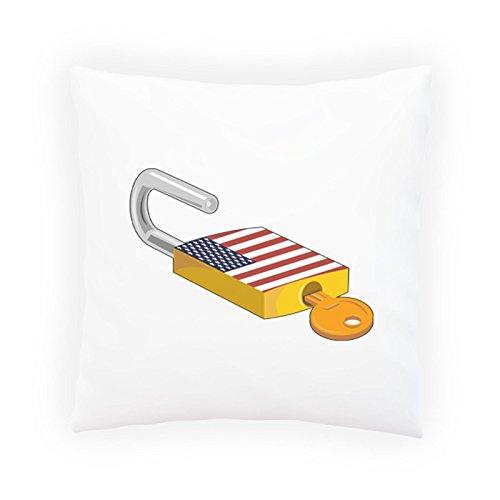 Vorhängeschloss Usa Flag Open Geschenk Funny Dekoratives Kissen, Kissenbezug mit Einlage/Füllung oder ohne, 45x45cm d763p (Flag Dekorative Kissen Usa)