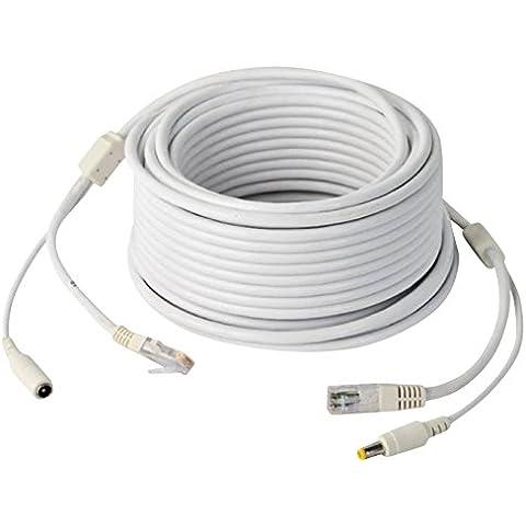 jovision combinazione cavo di rete 20m Alimentazione DC 12V per telecamera di sorveglianza IP POE Funzione alternativa (taglia M, colore: bianco