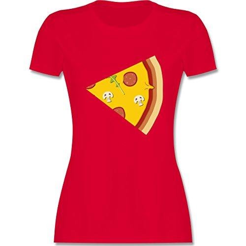Shirtracer Partner-Look Pärchen Damen - Pizza Pärchenmotiv Teil 2 - Damen T-Shirt Rundhals Rot
