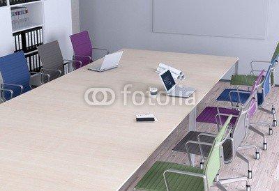 Alu-Dibond-Bild 100 x 70 cm: 'Konferenztisch - Bunte Stühle', Bild auf Alu-Dibond
