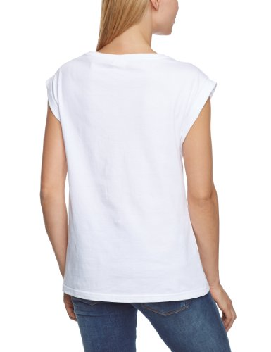 VILA CLOTHES - T-shirt Femme Blanc - Weiß (OPT.SNOW / Print:WITH SAFETY YELLOW)