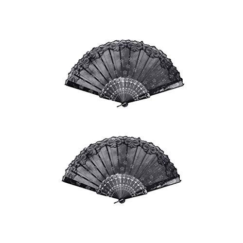 jfhrfged 2 STÜCK Fan Dekorative Fan Retro Fan Dance Fan Blumenspitze Chinesischen Tanz Hochzeit Spitze Seide Falten Handheld Blume Fan (Schwarz) - Schwarz Honeywell Fan