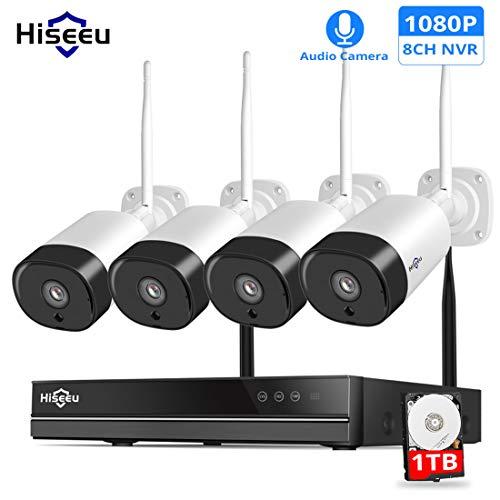 LLC - Hiseeu Outdoor-Sicherheitskamera System Wireless, 4-Kanal 1080P Video-Sicherheitssystem, 4pcs 2MP Wireless-Sicherheitskameras, Nachtsicht, Plug and Play, 1T-Festplatte True H. 264 Dvr