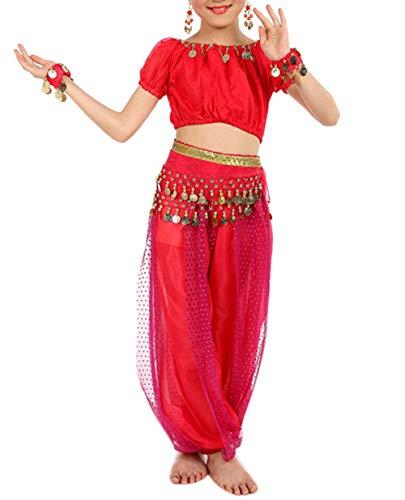 Lonshell Mädchen Bauchtanz Kostüm Outfit Chiffon Tops + Hose Anzug Tanzkostüme Arabian Kinder Princess Ägypten Tanz Performance - Kind Tanz Kostüm