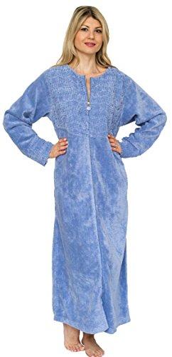 Bath & Robes Women's Cotton Chenille Robe Full Length Bathrobe Sky Blue