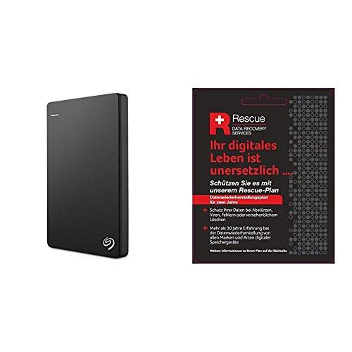 Seagate STDR2000200 Externe Tragbare Festplatte (inkl. Backup für Mobile, USB 3,0, PC, Mac und PS4) + STZZ794 Produktkarte mit Code zur Registrierung, Backup Plus Slim 2 TB, Schwarz