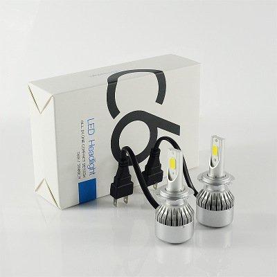 Coppia kit lampade luci led auto moto fari cob h7 c6 7600lm 36w 6000k headlight luce bianca lampadine bulbi auto,moto