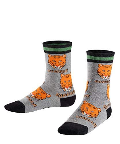 FALKE Jungen Tiger Allover Socken, Mehrfarbig (light grey 3400), 35-38 -