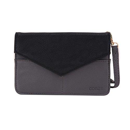 Conze da donna portafoglio tutto borsa con spallacci per Smart Phone per LG G2Mini/Lite Grigio grigio grigio