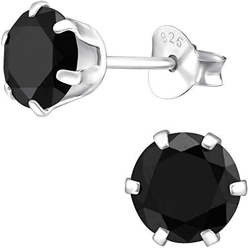 EYS JEWELRY Damen-Ohrstecker rund 925 Sterling Silber mit Zirkonia Onyx-schwarz 6 mm Damen-Ohrringe im Schmuck Etui