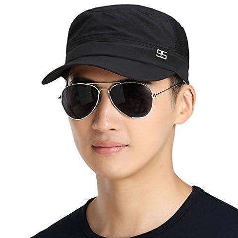 Men Lightweight Breathable Quickly Dry Mesh Anti-UV Sun Protection Outdoor Sports Sun Hats Flat Cap Headwear Baseball Hat Topee UV50+ for Fishing Biking Camping Hiking Black
