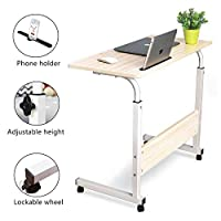 Laptop Table Desk Stand Computer Workstation Height Adjustable with Rolling Wheel Movable for Bedroom Living Room Office