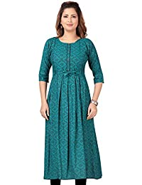 CEE 18 Women's Cotton Rayon A-Line Maternity Feeding Kurti with Zippers (10007)