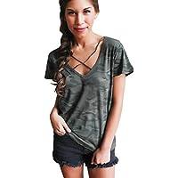 Camisetas mujer Sannysis chalecos deportivos de camuflaje manga corta cuello en V (S)