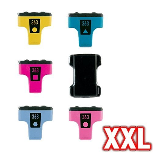 Print-Klex 6x Kompatible Tintenpatronen Sparset (alle Farben) für HP Q7966EE 363 PhotoSmart D7180 PhotoSmart D7260 PhotoSmart D7280 (D7260 Photosmart Hp)