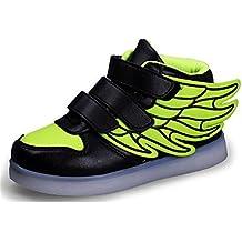 Niños Niños Niñas USB Cargador Colores LED Luces Luminosas Zapatillas Deportivas Alas Entrenadores Zapatos ...
