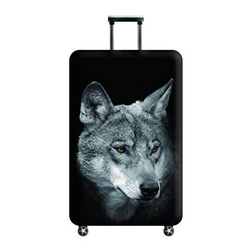 Waschbar Spandex Gepäck Cover Protector,Tourister Trolley Bag Cover passt 22/23/24 Koffer-Satchel mit Gepäck-Bungee-Gürtel-Schwarz-Wolf-Größe M (Satchel Unter 20 Schwarze)