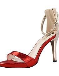 GGX/ Zapatos de mujer-Tacón Stiletto-Tacones / Punta Abierta-Sandalias-Fiesta y Noche-Terciopelo-Negro / Rosa / Rojo / Plata / Oro / Bermellón , golden-us8 / eu39 / uk6 / cn39 , golden-us8 / eu39 / uk6 / cn39
