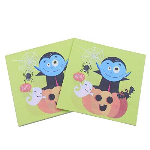 Limeinimukete Halloween-Cartoon-Muster Original Pulp Serviette, ideal für Brunch, Catering-Events, Dinner Parties, Buffets, Frühling Hochzeiten oder den täglichen Gebrauch, 5-Pack