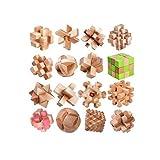 HAOYUSHANGMAO Kong Mingsuo, Lu Bansuo, Bloques for niños, un Juego Completo de Caja de 12 Piezas de Madera de Olmo Cubo de Rubik, Rompecabezas ( Color : C )