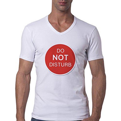 Danger Sign Warning Caution Disturb Herren V-Neck T-Shirt Weiß