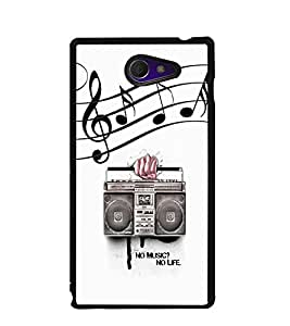Fuson Premium No Music No Life Metal Printed with Hard Plastic Back Case Cover for Sony Xperia M2 Dual