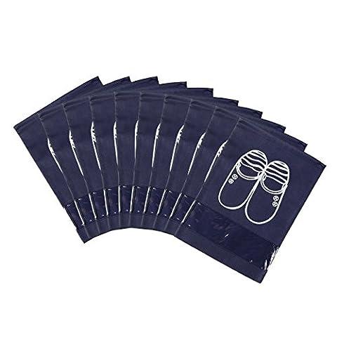 Travel Schuh Organizer Taschen, 10Stück 33x 27,9cm Staubdicht Vlies Kordelzug Schuhe Aufbewahrungstasche mit Visual Fenster, Reise Schuh Tasche Sport Schuh Tasche, Medium Größe marineblau