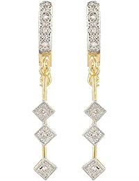 SKN Silver & Golden American Diamond Alloy Dangle & Drop Earrings For Women & Girls (SKN-1264)
