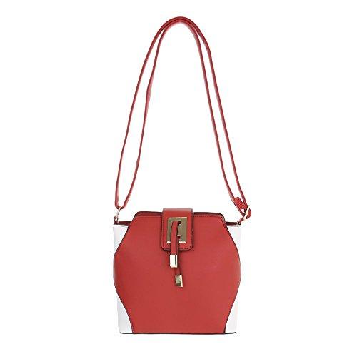 Ital-Design, Borsa a spalla donna Rosso/Bianco
