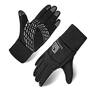 Opard Winter Gloves for Men Women Phone Touch Screen Texting with Warm Wool Lined Waterproof Windproof Lycra for Outdoor Cycling Running Driving Motorcycle (Normal Black, L)