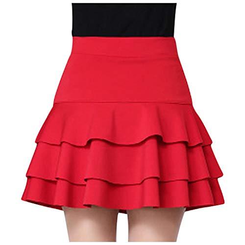 Eaylis Damen Kleid Mode Sexy Rock Elastic High Waist Sicherheitshosenrock Solide Lässige Double Layer Base Frauen Dress -