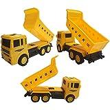 IndusBay Constuction Automobile Vehicle Kit Toy Set Of 4 Trucks Dumper , JCB, Crane, Cement Mixer - Pull Back Vehicles