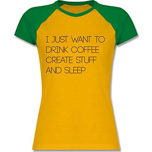 Statement Shirts - I just want to drink coffee create stuff and sleep Typo Designer - zweifarbiges Baseballshirt / Raglan T-Shirt für Damen Gelb/Grün