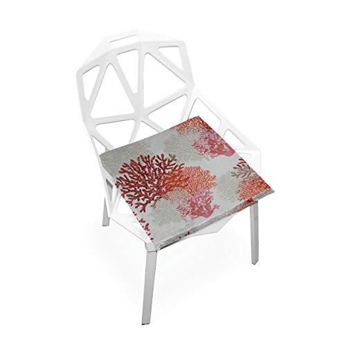 Enhusk Helle Farbe Korallen Benutzerdefinierte Weiche Rutschfeste quadratische Memory Foam Chair Pads Kissen Sitz für Home Kitchen Esszimmer Büro Schreibtisch Möbel Indoor 16 x 16 Zoll