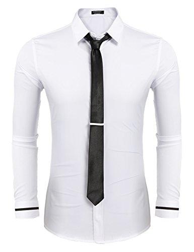 Coofandy Herren bügelfrei Hemden mit Krawatte Langarm Button-down Kentkragen Einfarbig Basic Shirts Business Weiß XL (Anzug Button-down-hemd,)