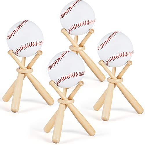 Holz Baseball Ständer Ausstellung Halter mit Mini Baseball Schlägern und Holz Kreisen für Baseball Spieler Fans