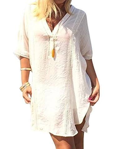 YesFashion Femme Shirt Manche mi-long Asymétrique Comfortable doux T-shirt Blouse Top Haut Robe Col V Dentelle Blanc