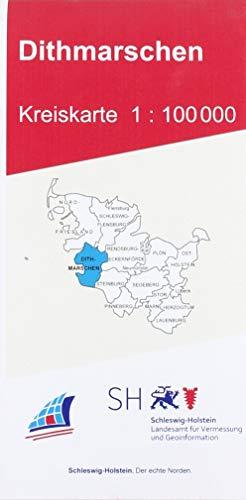 Dithmarschen Kreiskarte 1 : 100 000: Der Karteninhalt erstreckt sich von der Darstellung der Siedlungen, Bodenbewachsung, Gewässerformen, des ... Darstellung von Amts- und Gemeindegrenzen.