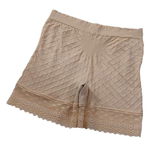 NPRADLA Frauen Sicherheitshosen Bowknot Lace Breathable Elastic Underpants Komfortable Nahtlose Elastan Woman Figure Shape Shorts (Beige Ski Hose)