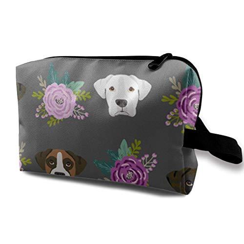 Travel Makeup Cosmetic Bag Brush Pouch Boxer Dogs Floral Zipper Pen Organizer Carry Case makeup bag for purse - Floral Boxer
