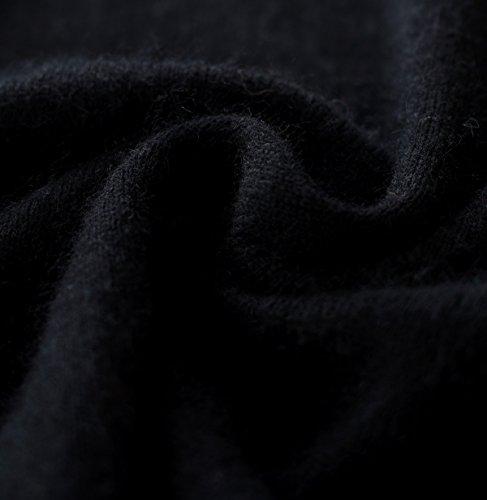 LongMing 100% Kaschmir Pullover for Damen Winter Warm Lange Ärmel V-Ausschnitt Slim Swaeter Schwarz