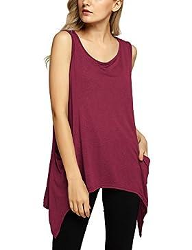 Urban GoCo Mujeres Casual Verano Color Sólido Blusa Camiseta Sin Mangas Chaleco Tank Tops