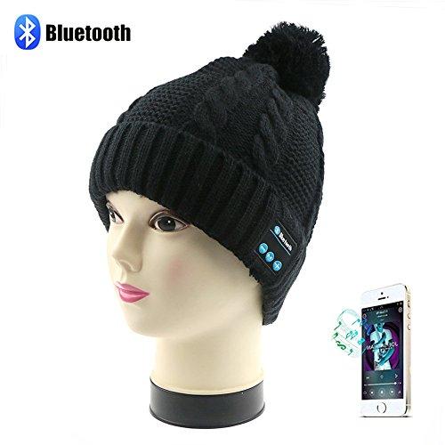 Sombrero de gorra Bluetooth inalámbrico, TPfocus Music Gorra suave con auriculares estéreo Micrófono de altavoz para deportes al aire libre Esquí de fondo Carrera de patinaje, Regalos de Navidad, Negro