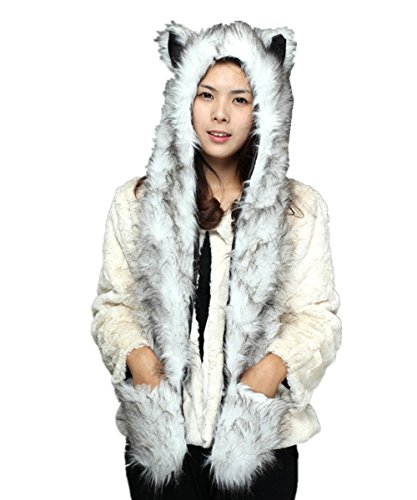 ene Teenager Kunstpelz flauschigen Tier Hut mit Pfoten Wolf (Süße Tier Kostüme Für Jugendliche)