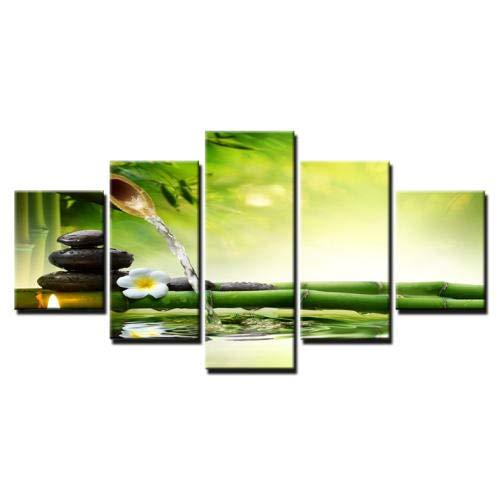 Wieoc Tela Hd Stampa Poster Home Decor Wall Art Quadro 5 Pezzi Di Pietra Di Primavera Di Bambù Che Scorre Acqua Pittura Candela Immagini Di Fiori-150X80Cm