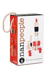 El Nan Casteller- Nan People Juguetes de Madera para Montar con Abrazos | Juegos de Construcción 34 Piezas, Color, Negro, Blanco y Rojo (v16)
