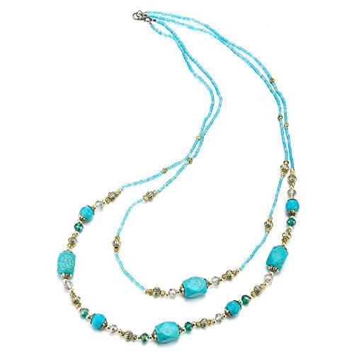 COOLSTEELANDBEYOND Zwei-Schichten Türkis Statement Halskette Lange Perlen Kette mit Kristall Edelsteine Perlen Charme Anhänger Partei