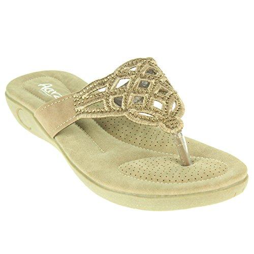 Frau Damen Laserschnitt Slip On Sommer Strand Open Toe Beiläufige Party Komfort Flache Sandale Schuhe Größe Beige