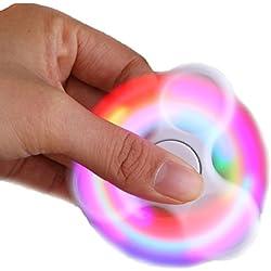 Rcool Fidget Spinner LED Ligero Hand Spinner Fidget Juguete Anti Ansiedad para Niños y Jóvenes Adultos Juguete Educación Juguetes de Aprendizaje - Juego Sensorial Hand Spinner en Oferta (Blanco)